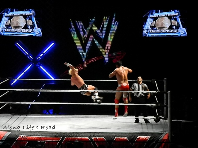 Ziggler in motion to do a drop kick on DelRio. I'm thrilled I caught them both mid air!