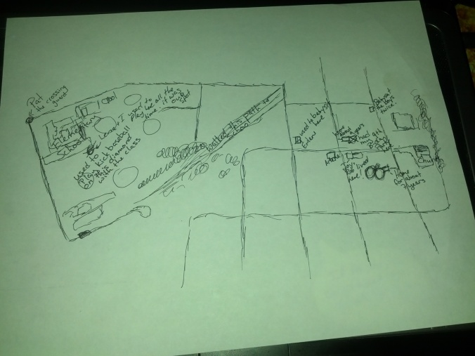 The map of my neighborhood while I was in elementary school.